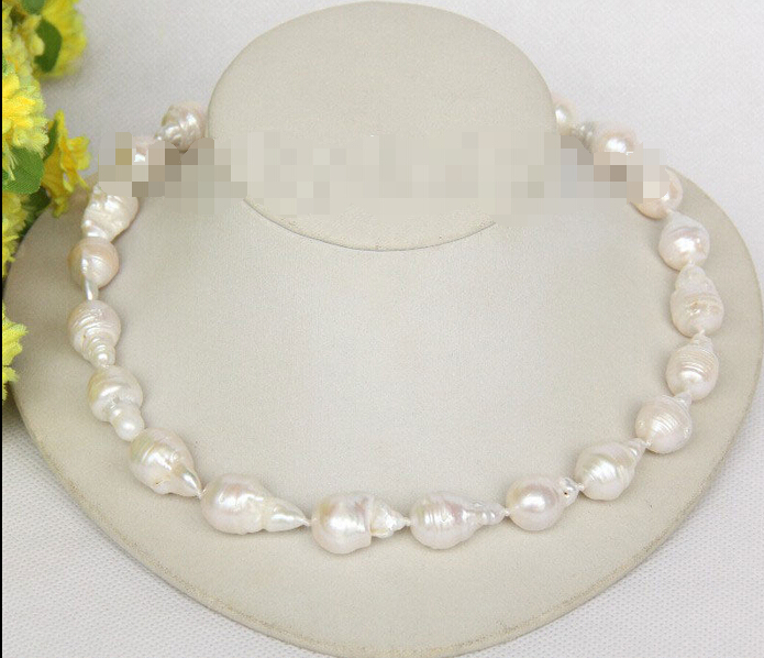 shippingnatural 18 21mm baroque white Reborn keshi pearls necklace j10013shippingnatural 18 21mm baroque white Reborn keshi pearls necklace j10013