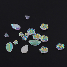 6pcs fashion glass crystal ab color leaf flower shape earrings for women stud material diy handmade jewelry accessories
