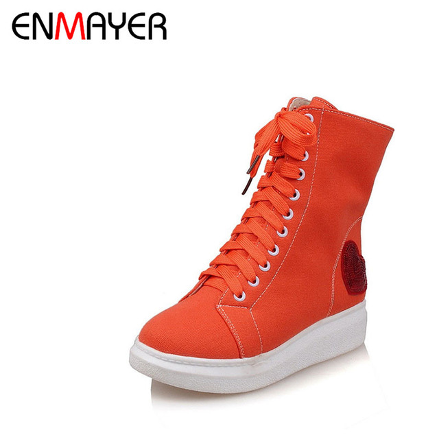 32888ae0aee4eb ENMAYER 2017 New Comfortable Lace-Up Zip Girls Flat Casual Shoes Women  Canvas Bling Orange White Platform Female Leisure Date