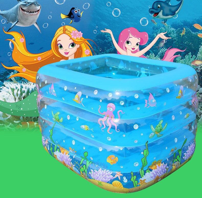 Gonflable Bébé Jouer Piscine Portable Bande Dessinée 4 couches Enfants L'océan Éclaboussures Boules Sable Baignoire Bébé Piscine Enfants Baignoire