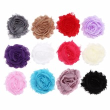 500pcs/lot Shabby Flowers Frayed Chiffon Flower Without Hair Clips Flat Back DIY Carfts Kidocheese