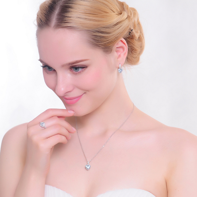 Heart Shape Zircon Crystal Bridal Jewelry Set Pendant, Earrings and Ring