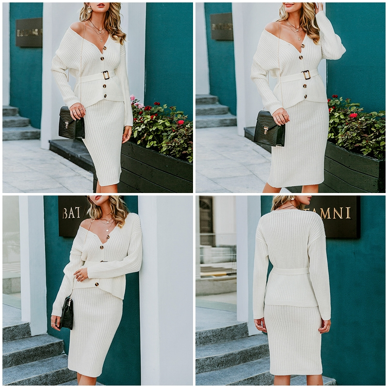 BerryGo Two-piece women knitted dress set Elegant autumn winter sweater dress suits Long sleeve button sashes female skirt suit 3
