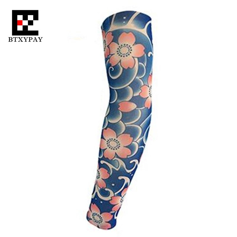 Body Paint Anti-UV Sunscreen Super Elastic Tattoo Arm Sleeves Warmers ,Hip-hop Rock,Fashion Cool Sporting Protection Long Gloves