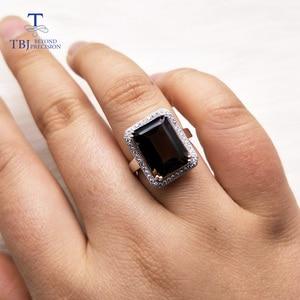 Image 5 - TBJ bague classique en pierres précieuses de grande taille, bijoux en pierres précieuses, avec fumée naturelle oct10 * 14mm en argent sterling 925, cadeau pour femmes