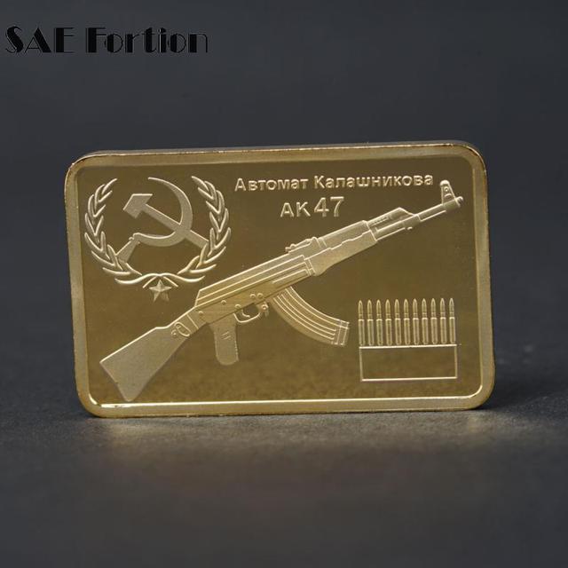 Rusia Pro Kitty Gold Bullion Ak47 Senapan Emas Replika Emas Batangan