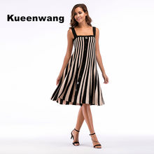Top selling skater dress women stripe strappy knee length robe femme ete  2018 soft elegant work dress vestidos de fiesta 91c82308ec36