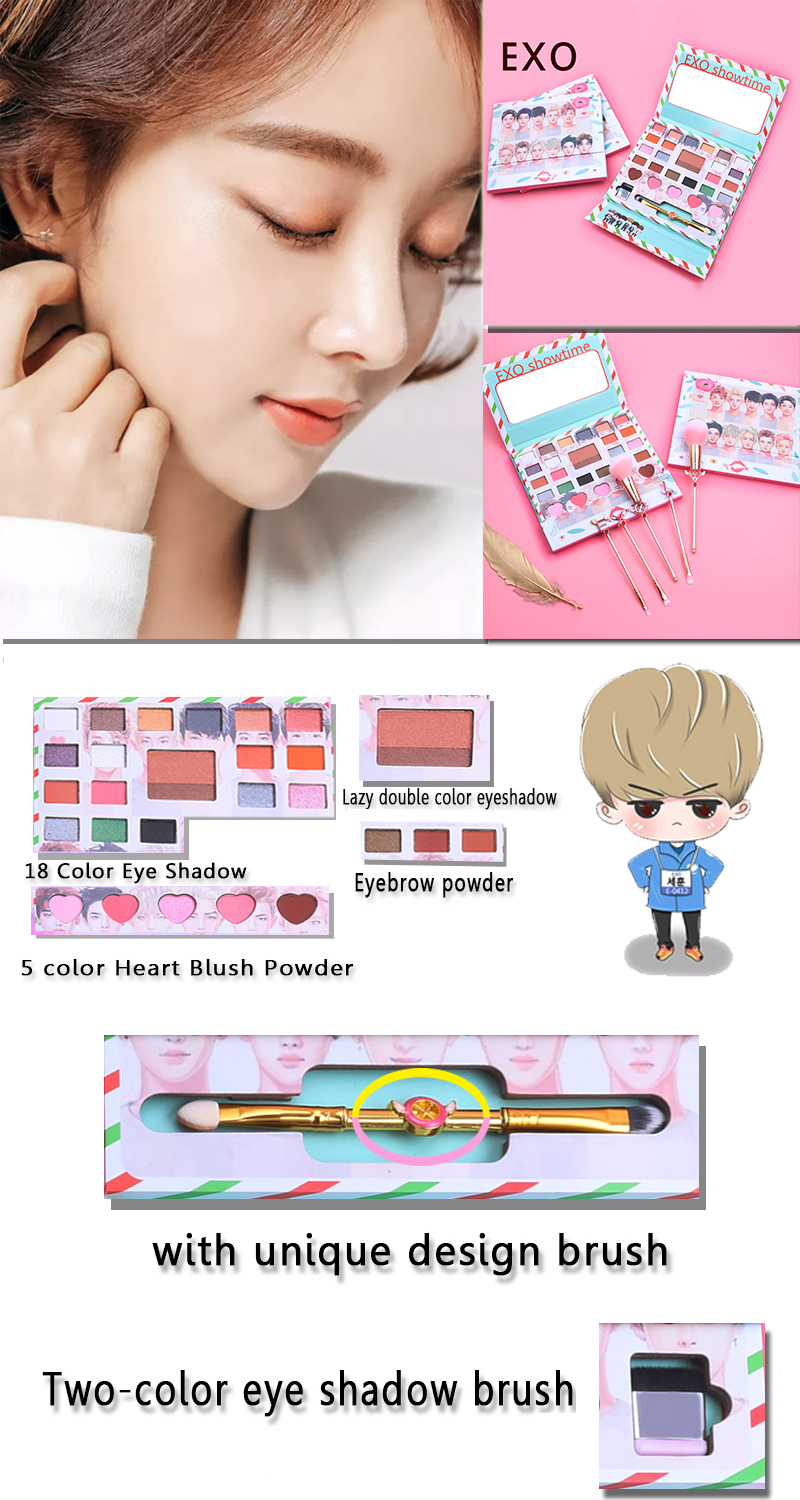 Beauty Essentials Beauty & Health New Korea Exo Eye Makeup Nudes Palette 26colors Matte Eyeshadow Pallete Glitter Powder Eye Shadow With Brush Set Stamp Pigment