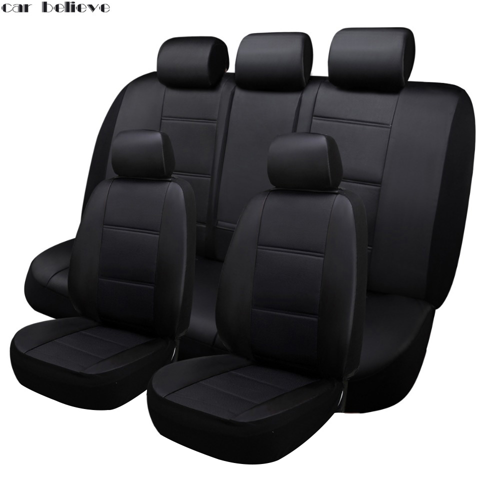 Car Believe Auto Leather car seat cover For bmw e46 e36 e39 accessories e90 x5 e53 f11 e60 f30 x3 e83 covers for vehicle seats carbon fiber vinyl leather car steering wheel cover fit for bmw e36 e46 e60 e90 38cm carbon wheel cover interior accessories