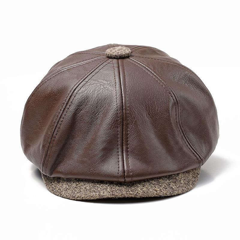 c12a50f3699 Dropwow Wuaumx NEW Fall Winter Octagonal Hat PU Leather Newsboy Caps ...