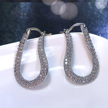 Classic Hoop Earrings for Women sterling silver Pin Cubic Zirconia Fashion Jewelry Elegant Wedding Earrings Valentine Day Gift