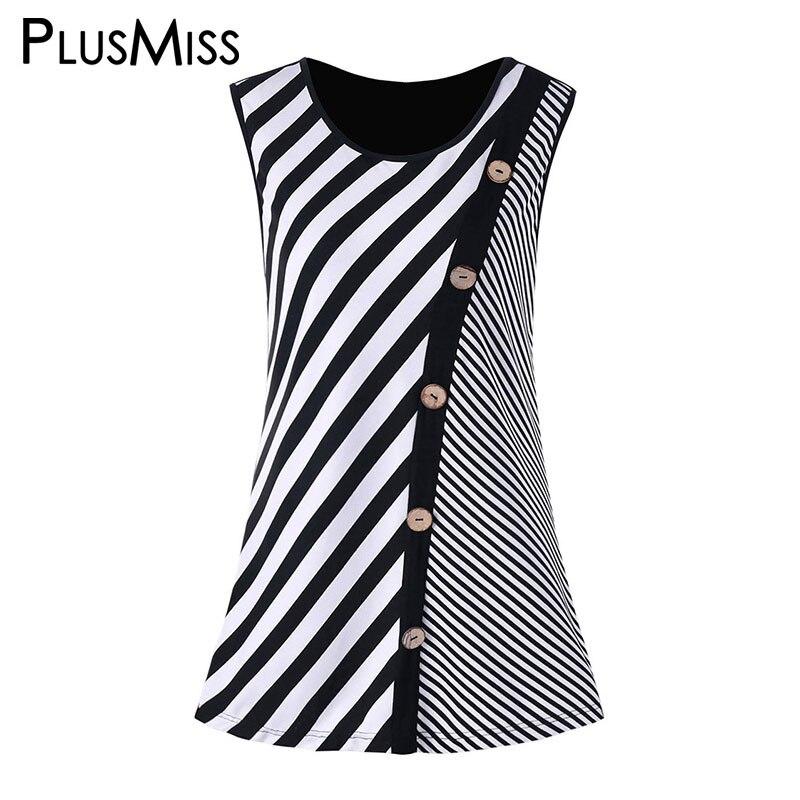PlusMiss Plus Size 5XL 4XL Button Striped Print Tank Tops Women Clothing Big Size Summer 2018 Sleeveless Vest Ladies Tunic Top