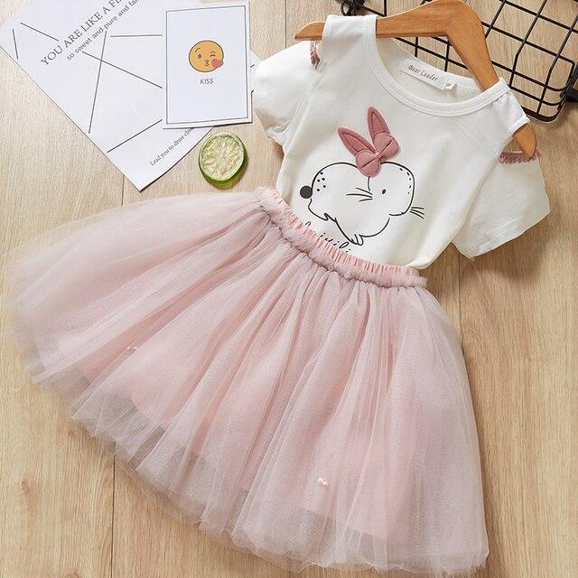 الدب زعيم الفتيات مجموعة ملابس 2019 العلامة التجارية الفتيات الملابس فراشة كم إلكتروني T-قميص + الأزهار Volie التنانير 2 قطعة لفستان فتاة 5