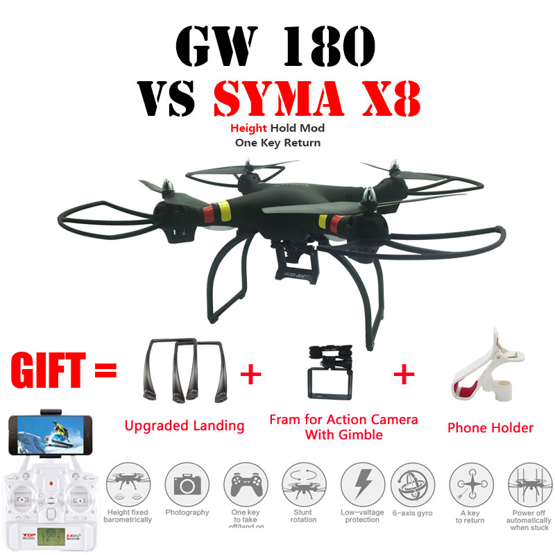 Professional Drone GW180 Quadcopter RC Helicopter Height Hold Mode With 4k/1080P Wifi HD Camera Can Carry Gopro Vs Syma X8/X8HW gw180 fpv rc quadcopter drone with 4k 1080p wifi camera hd 2 4g 6 axis with hover function rc helicopter toys vs syma x8hg