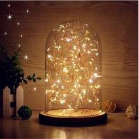 Glaskuppel Nachtlicht Glocke Jar Anzeigen Holzsockel LED Warm weißes Licht Nachttischlampe mit Warme Fee Starry Schnur-lichter