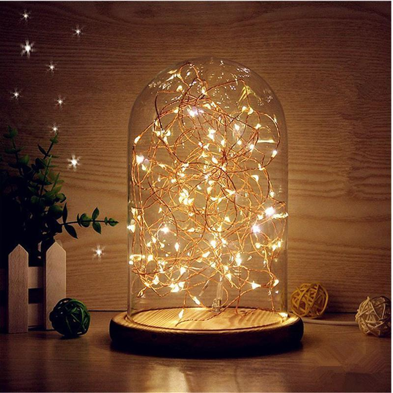 Glass Dome Night Light Bell Jar Display Wooden Base LED Warm