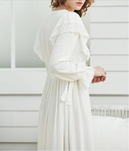 Image 5 - Gentlewoman Nightgown Vintageลูกไม้ชุดนอนผ้าฝ้ายผู้หญิงสีขาวชุดนอนแขนยาวNightdressสุภาพสตรีสีชมพู