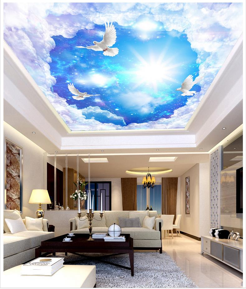 3d Photo Wallpaper Custom 3d Ceiling Murals Wallpaper Fantasy Starry White Dove Zenith Fresco Wallpaper Decoration Painting Wall