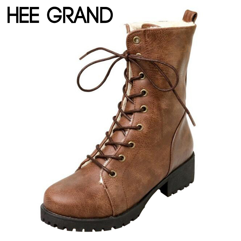 HEE GRAND/Женская зимняя обувь зимняя теплая обувь модные ботильоны с толстым плюшем внутри женские Сапоги и ботинки для девочек размер: 35–42 ...
