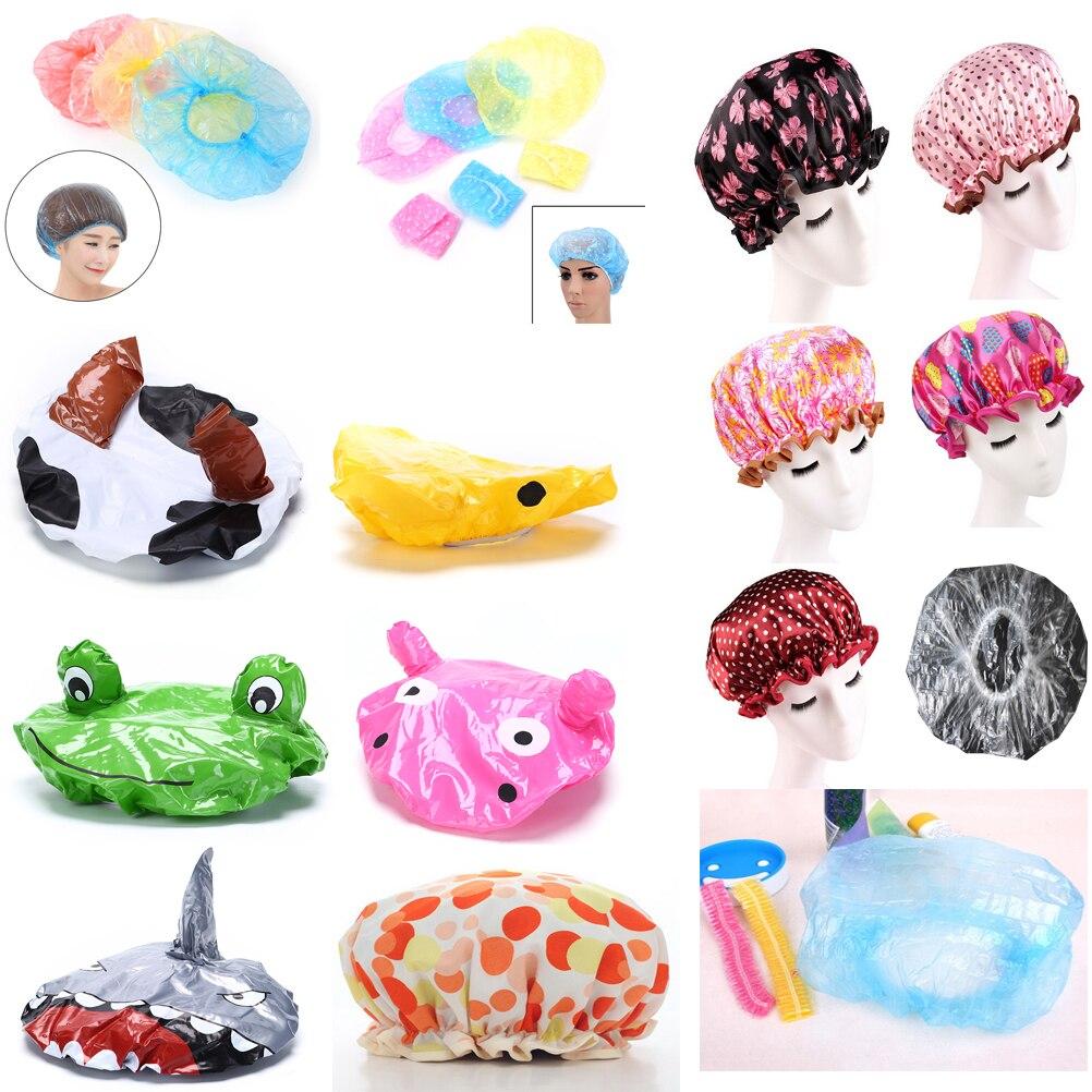 Милая мультяшная шапочка для ванной, женская шапка для ванны и сауны, кружевная эластичная шапочка, шапочка для спа, женская детская Защитна...