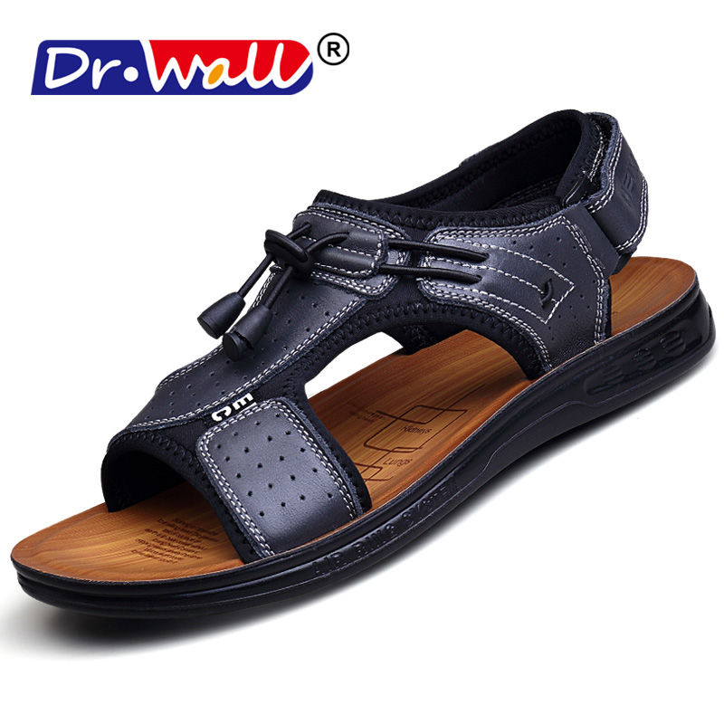2018 Dr.wall Cow Leather Men Beach Slippers Fashion Flip Flops With Soft Sole Trendy Breathable Easy To Match Men Summer Shoes