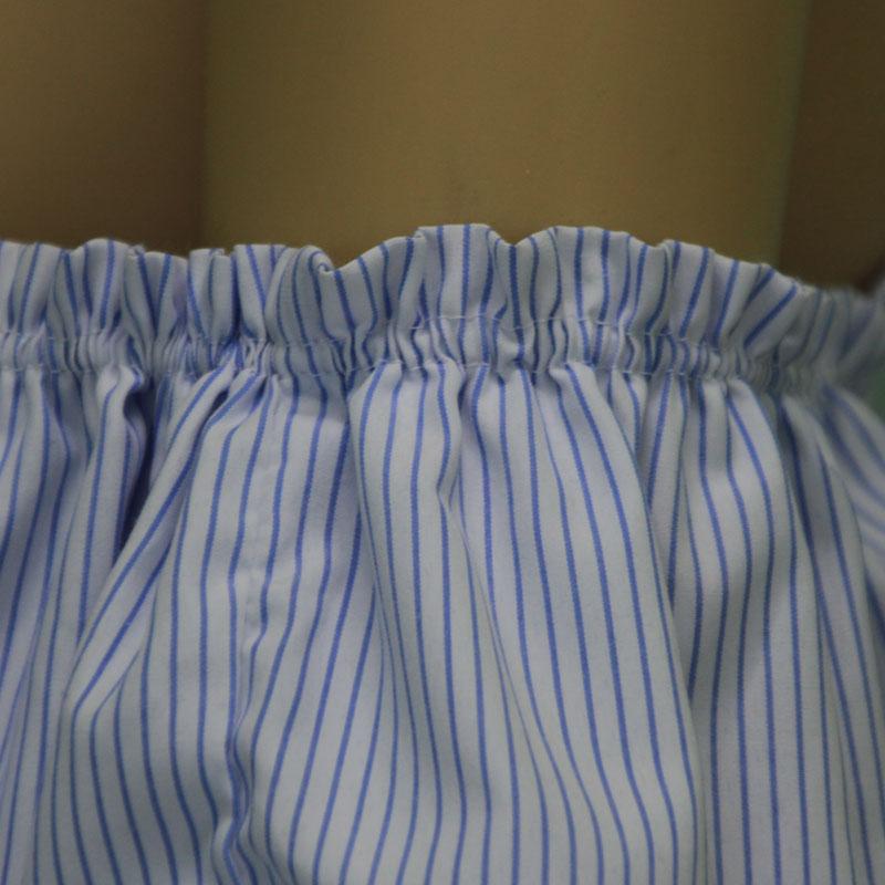 750390927 LINSHOW Lado Irregular Hombro Ladies Blusas Rayado Azul Ruffles Manga Corta  Camisas de Las Mujeres Sexy Casual Plisado Flojo Tops en Blusas y camisas  de La ...