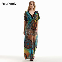 A Line Long Dress Plus Size 3 4 5 6 XL Women Casual Short Sleeve Print