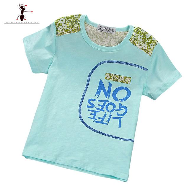 2016 O-cuello Sports Active Carta Niños Blanco de Manga Corta Camiseta de Los Muchachos Ropa Vetement Garcon Embroma la Ropa