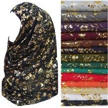 メタリックゴールド花柄イスラム教徒ヒジャーブのスカーフショールヘッドラップ