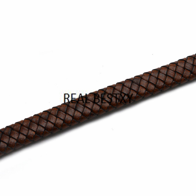 Real bestxy 1 m/lote 12*6mm afligido brown tiras de couro liso trançado cabos de couro largas cordas de couro para fazer pulseiras
