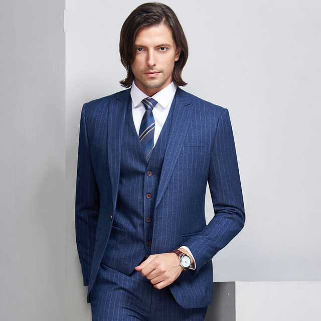 8acc1118b4e Blue Pinstripe Suit Jacket 3 Piece Slim Fit Leisure Wedding Men Tuxedo Plus  Size Casual Suit Men 4XL CD30