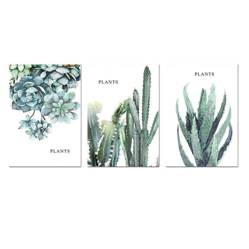 Watercolor Plants Nordic Modern Simple Hand-painted Cactus Restaurant Decorative Drawing Canvas Painting Wall Art Frameless