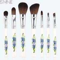 ISMINE 8 Pçs/set Cerâmica punho pêlo de cabra compo escovas escovas de cosméticos com saco do presente