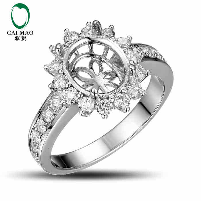 CaiMao Oval cut Semi Mount Ring Settings & 0.8ct Diamond 18k White Gold Gemstone Engagement Ring Fine Jewelry