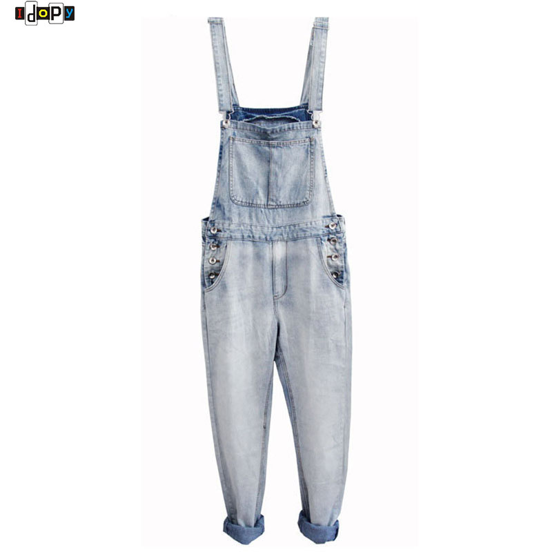 Retro Men`s Plus Size S-5XL Denim Bib Overalls Multi Pockets Button Light Washed Blue Oversized Jumpsuits For Male Big and Tall men s plus size s m l xl xxl 3xl 4xl denim shorts casual pocket overalls loose jumpsuits bib pants