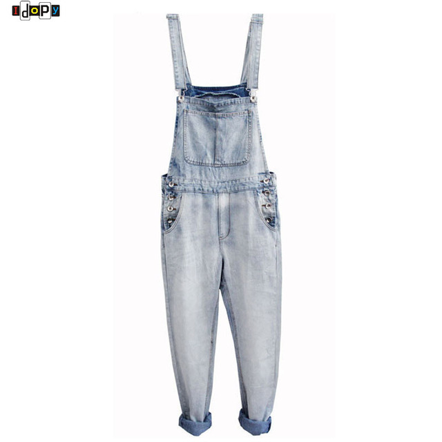 6a197b7dcf0 Retro Men`s Plus Size S-5XL Denim Bib Overalls Multi Pockets Button Light  Washed Blue Oversized Jumpsuits For Male Big and Tall