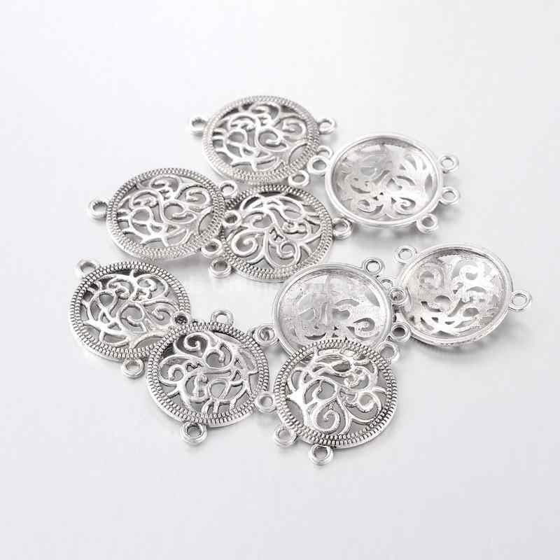 10 X tibetano plata flor patrón hueco 26mm X 25mm Encantos Colgantes