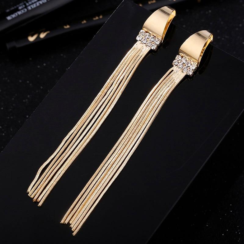 Trendy 2018 Gold Lange Quaste Ohrringe Für Frauen Partei Schmuck Weibliche Geometrische Metall Strass Tropfen Ohrring Baumeln Mädchen Geschenke Hohe QualitäT Und Geringer Aufwand