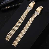 Trendy 2018 Gold Long Tassel Earrings For Women Party Jewelry Female Geometric Metal Rhinestone Drop Earring Dangle Girls Gifts