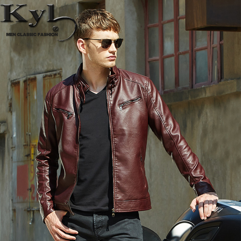 2016 Men's Popular Handsome PU Leather Jacket Punk New Red Leather ...