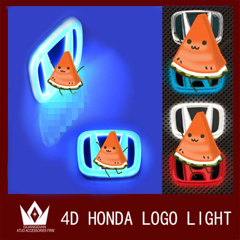 For Honda led Rear Badge Sticker light 4D Car Emblem light lamp  LED light  4D logo light Emblems led new arrival 4d car led logo light led cold light logo decoration emblem bulb led badge lamp for renault koleos megane latitude