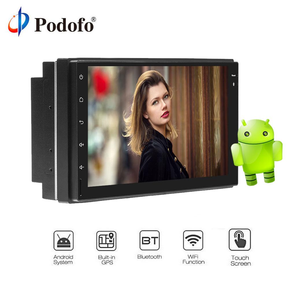 Podofo Android8.0 7 ''сенсорный автомобиля радио gps навигации Универсальный 2 Din Wi-Fi Bluetooth HD Радио стерео Мультимедиа плеер
