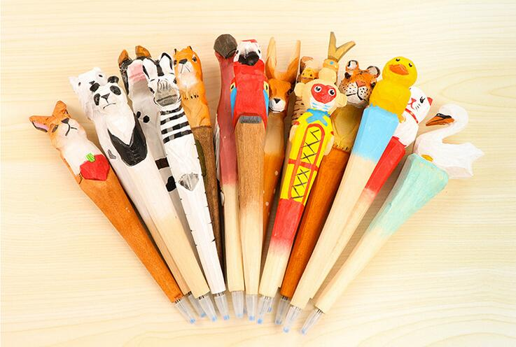Hand carved wooden animals ballpoint pen hand engraved for Markers for wood crafts