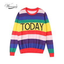 Fashion Women Striped Harajuku Candy Colors pullover Sweater Kawaii viscose pull Casual Tee Lady Cute Tops B-172
