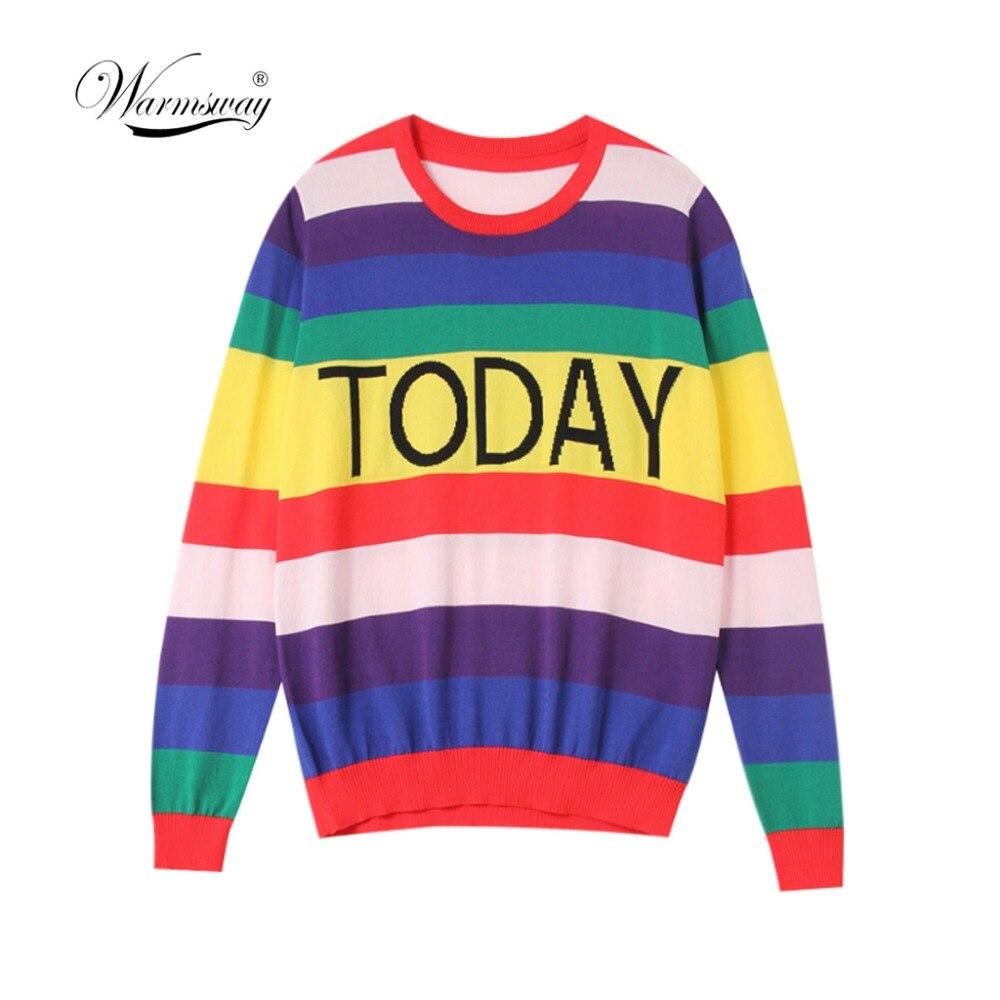 Fashion Women Striped Harajuku Candy Colors Pullover  Sweater Kawaii Viscose Pull Casual Tee Lady Cute Tops B-172