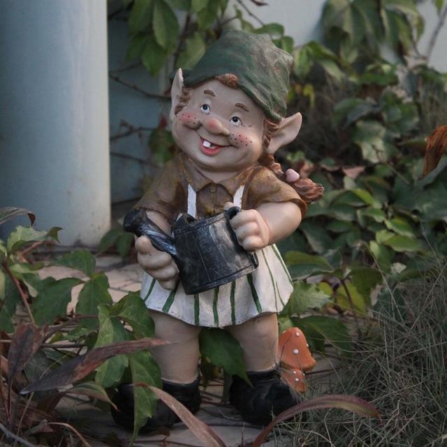 31cm Poly Resin Creative Garden Gnome Elf Figurine Carry Water Courtyard  Dwarf Statue Home Garden Outdoor