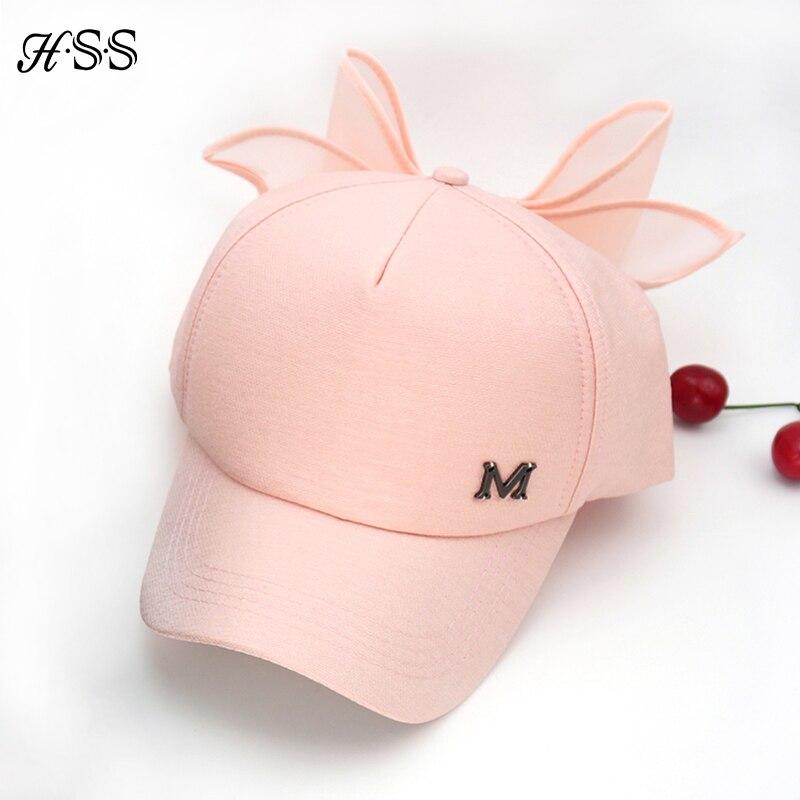 HOT Jarní čepice M značka Růžová čepice s velkým lukem Ohýbání brimmed hat Baseballové čepice Visor ženy sluneční klobouk
