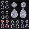 Moda Ametista Verde 2.8 Carat Vermelho Grande CZ Cristal Brincos Longa Queda Para As Mulheres
