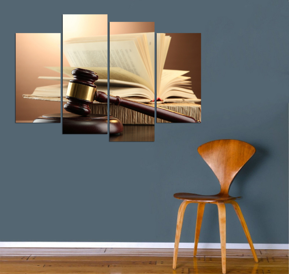 Us 300 4 Piece Canvas Wall Art Wooden Gavel And Books On Brown Background Justice Concept Modern Canvas Prints For Lawyer Office Decor In Painting