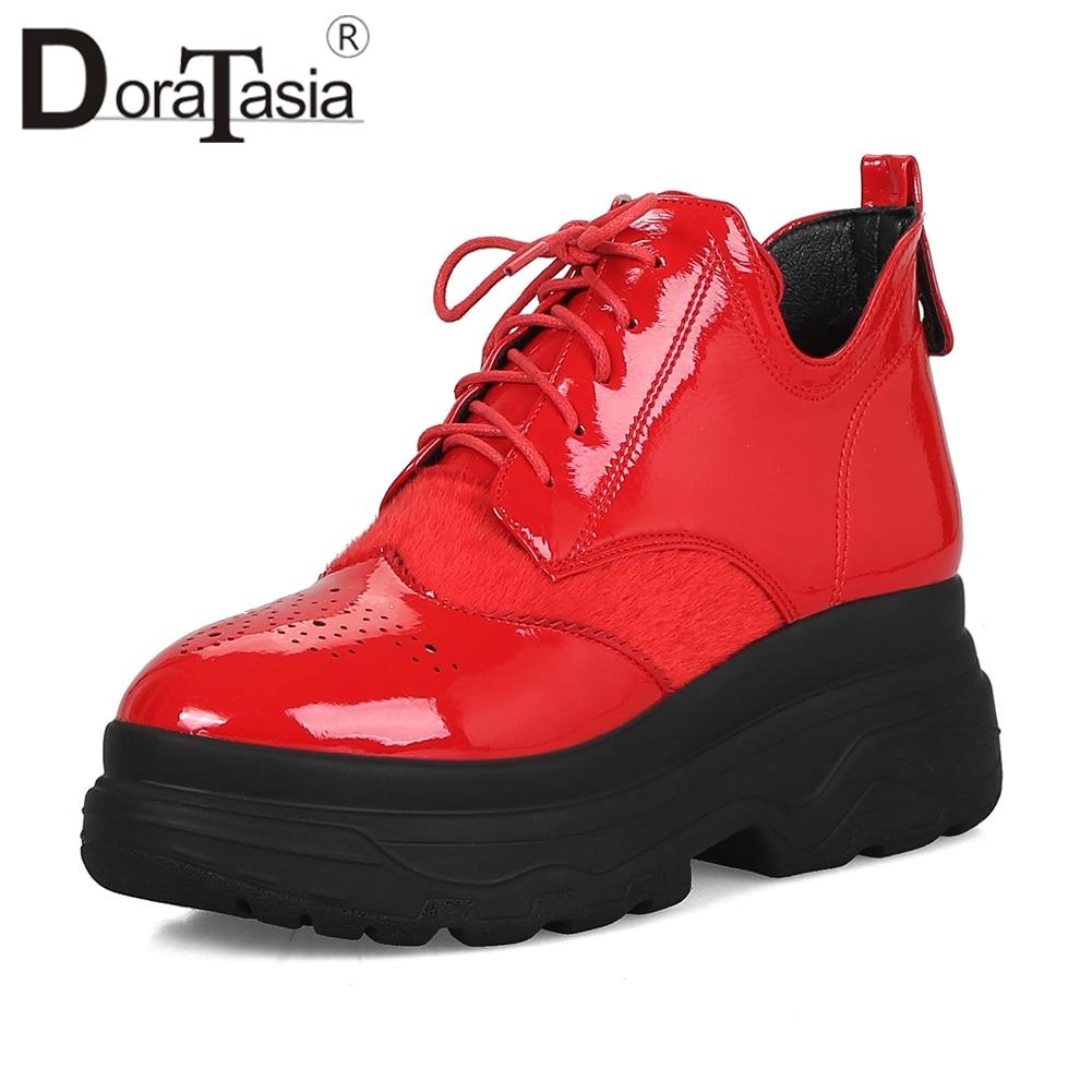 DORATASIA grande taille 33-43 fille plate-forme baskets femmes 2019 printemps mode femme crin à lacets fourrure plate-forme chaussures femme